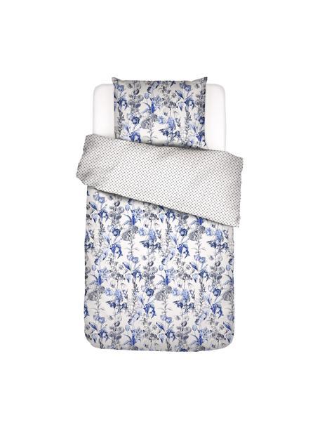 Baumwollperkal-Wendebettwäsche Jackie mit Blümchenmotiv, Webart: Perkal, Blau,Weiß, 135 x 200 cm + 1 Kissen 80 x 80 cm