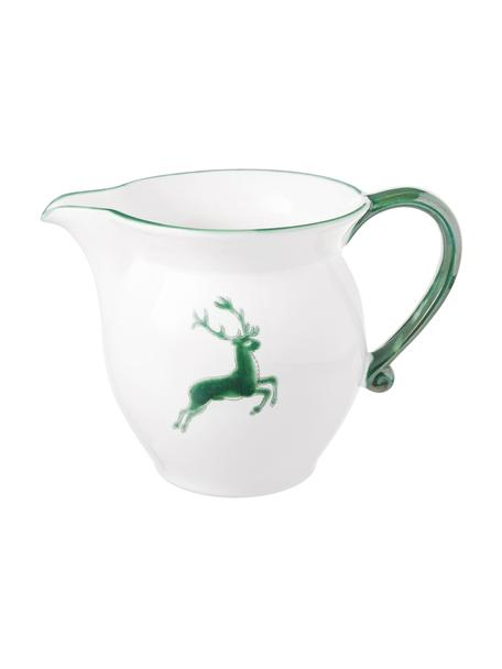 Handbeschilderde melkkan Classic Green Deer, 300 ml, Keramiek, Groen, wit, 300 ml