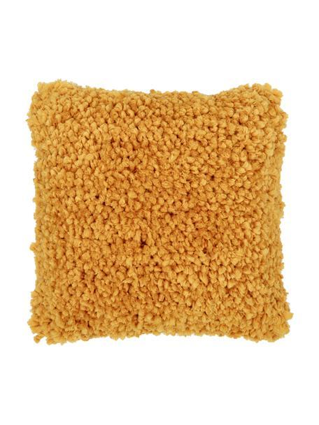 Flauschiges Kissen Oscar in Gelb, mit Inlett, Bezug: 95% Baumwolle, 5% Acryl, Ockergelb, 50 x 50 cm