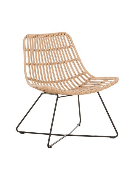 Boho fauteuil Costa in lichtbruin, Zitvlak: polyethyleen-vlechtwerk, Frame: gepoedercoat metaal, Lichtbruin, B 64 x D 64 cm