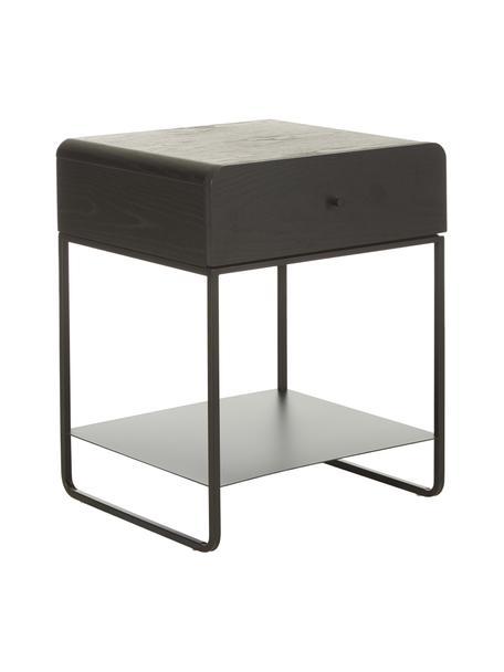 Nachttisch Sally mit Schublade, Korpus: Eschenfurnier, Melamin, Gestell: Metall, pulverbeschichtet, Schwarz, 45 x 58 cm