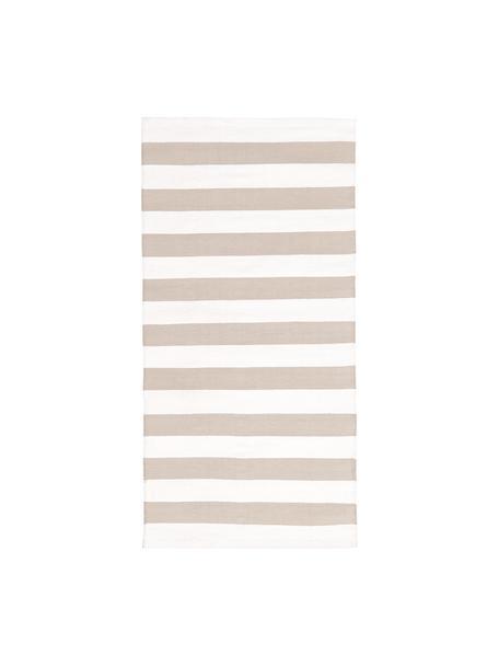 Tappeto in cotone a righe Blocker, 100% cotone, Bianco crema/taupe, Larg. 70 x Lung. 140 cm (taglia XS)