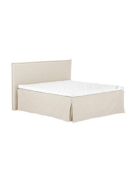 Premium Boxspringbett Violet, Matratze: 7-Zonen-Taschenfederkern , Füße: Massives Buchenholz, lack, Beige, 180 x 200 cm