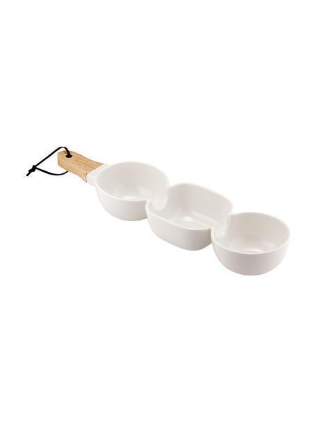 Servierschale Classic in Weiß mit Holzgriff, Schale: Porzellan, Griff: Gummibaumholz, Weiß, B 40 x T 10 cm