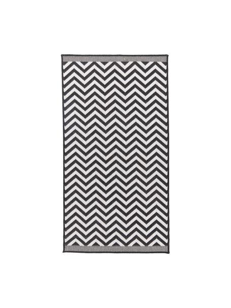 Dwustronny dywan wewnętrzny/zewnętrzny Palma, Czarny, kremowy, S 80 x D 150 cm (Rozmiar XS)