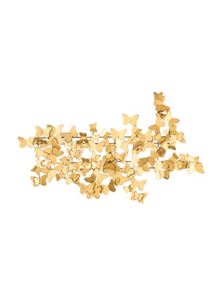 Wandobjekt Butterfly aus Metall in Antik-Optik, Metall, Goldfarben, 104 x 62 cm