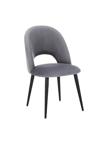 Sedia imbottita in velluto Rachel, Rivestimento: velluto (rivestimento in , Gambe: metallo verniciato a polv, Velluto grigio acciaio, Larg. 53 x Prof. 57 cm