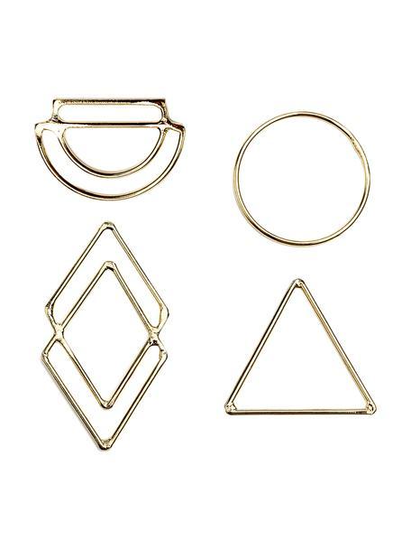 Set de adornos para regalos Ecora, 4pzas., Metal, Dorado, An 4 x Al 6 cm