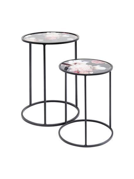 Beistelltisch-Set Peony mit Blumenmuster, 2-tlg., Tischplatte: Sicherheitsglas (ESG), ge, Gestell: Stahl, pulverbeschichtet, Schwarz, Set mit verschiedenen Grössen