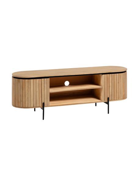 Mobile TV in legno con ante Licia, Piedini: metallo verniciato, Beige, nero, Larg. 160 x Alt. 56 cm