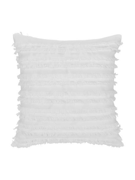 Kissenhülle Jessie in Weiß mit dekorativen Fransen, 88% Baumwolle, 7% Viskose, 5% Leinen, Weiß, 45 x 45 cm
