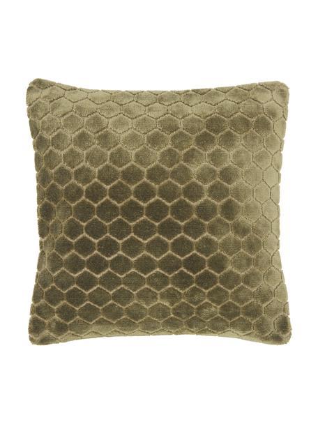 Samt-Kissenhülle Carraway mit Strukturmuster, Vorderseite: 51% Polyester, 49% Viskos, Rückseite: 100% Baumwolle, Grün, 45 x 45 cm
