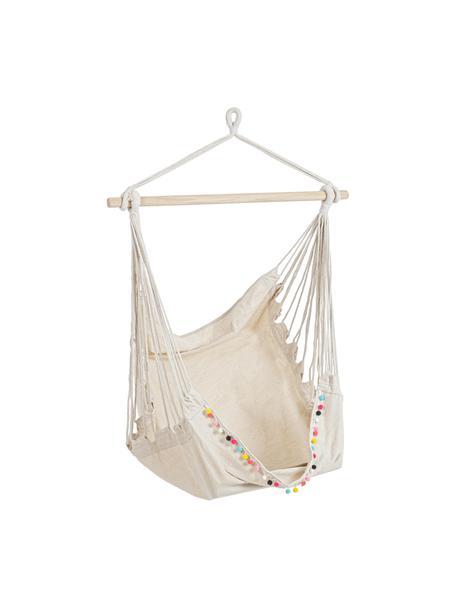 Hangstoel Pon-Pon, Frame: hardhout, Zitvlak: 65% katoen, 35% polyester, Gebroken wit, 135 x 100 cm