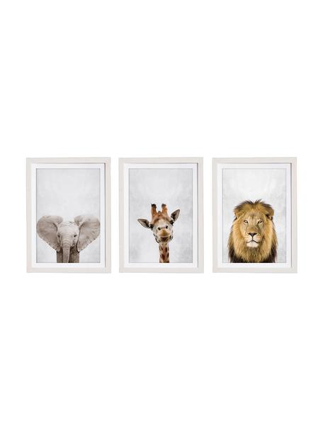 Set de impresiones digitales enmarcadas Wild Animals, 3 pzas., Multicolor, An 30 x Al 40 cm