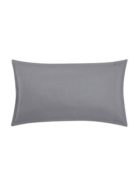 Poszewka na poduszkę z lnu z efektem sprania Nature, 2 szt., Ciemnyszary, S 40 x D 80 cm