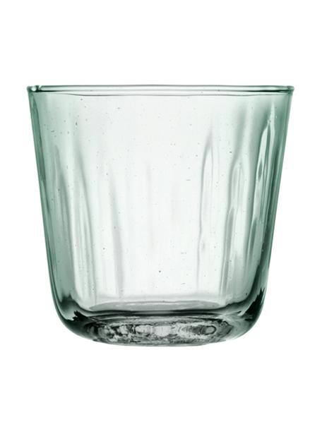 Wassergläser Mia mit Relief, 4er-Set, Recyceltes Glas, Türkis, transparent, Ø 9 x H 8 cm
