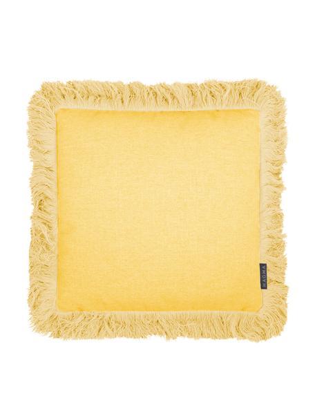Kissenhülle Tine in Gelb mit Fransen, Webart: Jacquard, Gelb, 40 x 40 cm