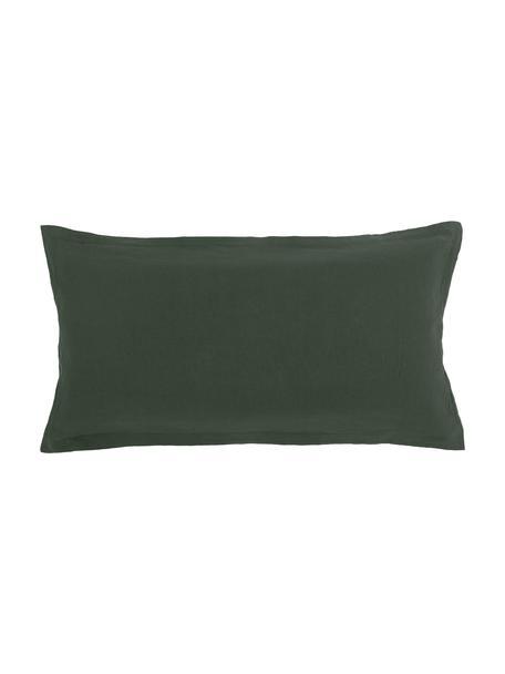 Poszewka na poduszkę z lnu z efektem sprania Nature, 2 szt., Ciemnyzielony, S 40 x D 80 cm