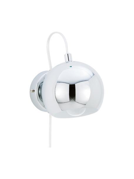 Wandlamp Ball met stekker, Lampenkap: verchroomd metaal, Chroomkleurig, hoogglans, 12 x 12 cm