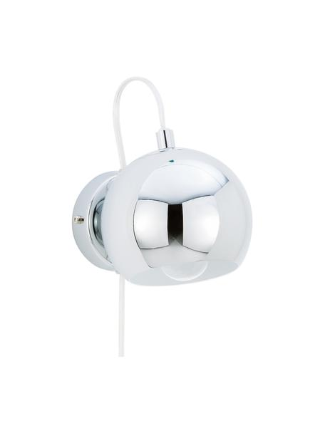 Wandleuchte Ball mit Stecker, Lampenschirm: Metall, verchromt, Chrom, hochglanz, 12 x 12 cm