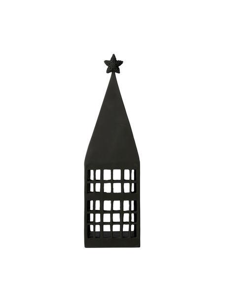 Portavelas Serafina House, Poliresina, Negro, An 10 x Al 33 cm