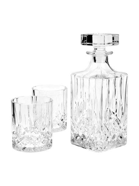 Whisky-Set George mit Kristallrelief, 3-tlg., Glas, Transparent, Set mit verschiedenen Größen