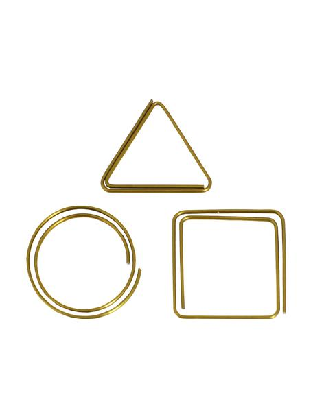 Büroklammern-Set Geometria, 9-tlg., Metall, lackiert, Messingfarben, 3 x 3 cm