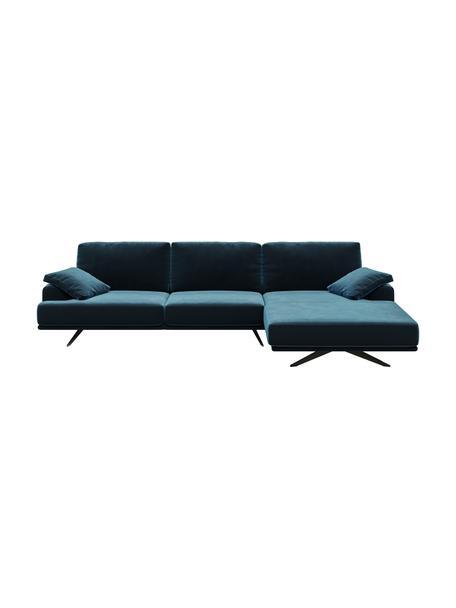 Sofa narożna z aksamitu Prado, Tapicerka: aksamit poliestrowy Dzięk, Nogi: metal lakierowany, Ciemny niebieski, S 315 x G 180 cm