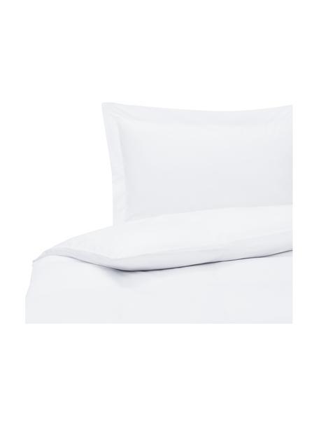 Parure copripiumino in raso di cotone bianco Premium, Tessuto: raso, leggermente lucido, Bianco, 155 x 200 cm