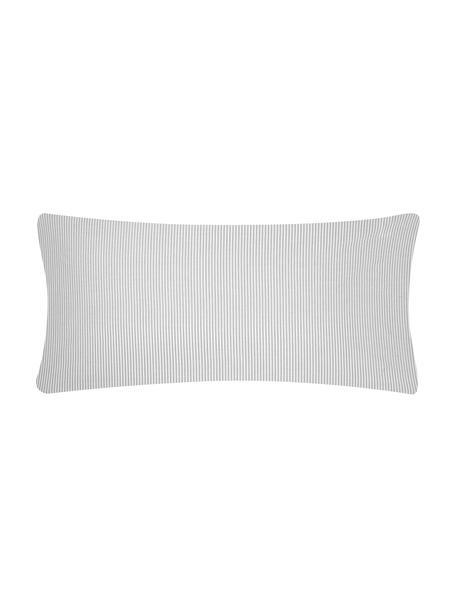 Funda de almohada de algodón Ellie, Blanco, gris, An 45 x L 110 cm
