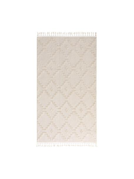 Alfombra texturizada Oyo, estilo boho, Parte superior: poliéster, Reverso: algodón, Crema, An 80 x L 150 (Tamaño XS)