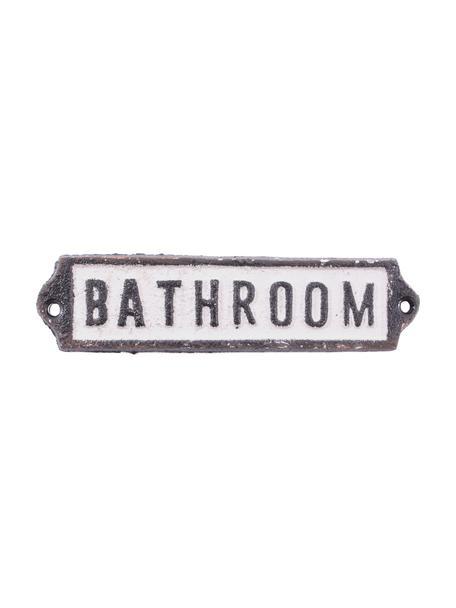 Wandbord Bathroom, Gecoat metaal, Zwart, wit, 14 x 3 cm