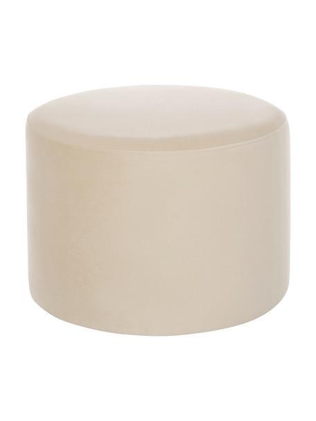 Puf de terciopelo Daisy, Tapizado: terciopelo (poliéster) Al, Estructura: tablero de fibras de dens, Terciopelo beige, Ø 54 x Al 38 cm