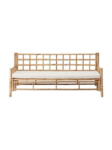 Bamboehouten bank Mandisa (3-zits) met zitkussen, Frame: onbehandeld bamboehout, Bekleding: canvas, Bamboehoutkleurig, wit, B 180  x D 70 cm