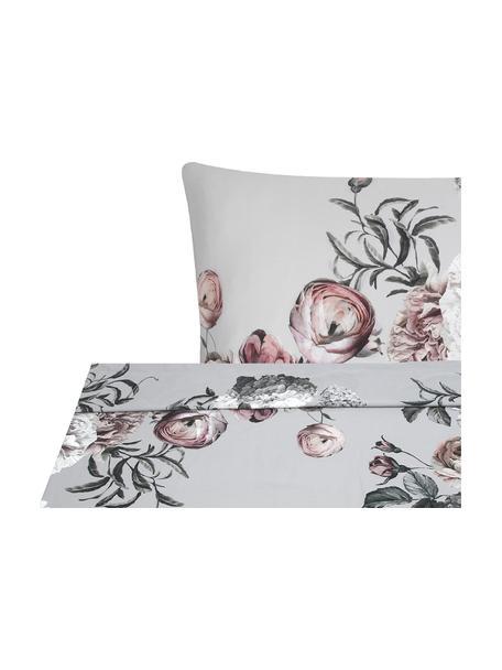 Parure letto in raso di cotone Blossom, Grigio, 240 x 300 cm + 2 cuscini 50 x 80 cm