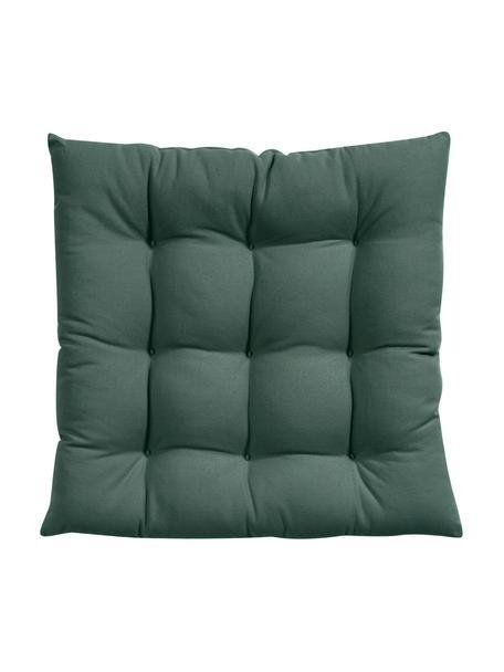Cojín de asiento Ava, Funda: 100%algodón, Verde oscuro, An 40 x L 40 cm