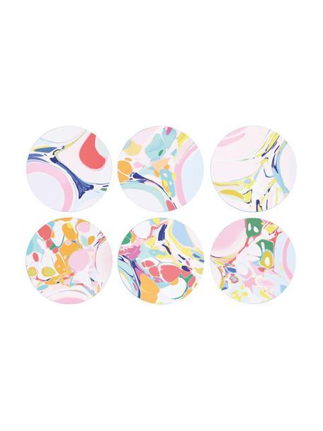 Set 6 sottobicchieri in sughero Lillian, Sughero rivestito, Multicolore, Ø 10 cm