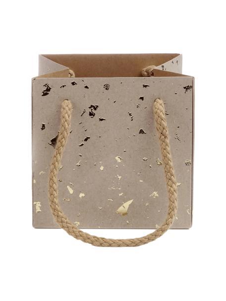 Geschenktaschen Carat, 3 Stück, Griffe: Baumwolle, Tasche: Kraftpapier, Braun, Goldfarben, 12 x 12 cm
