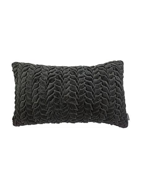 Samt-Kissen Smock in Anthrazit mit geraffter Oberfläche, mit Inlett, Bezug: 100% Baumwollsamt, Schwarz, 30 x 50 cm