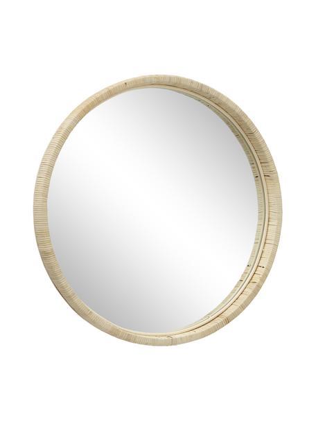 Runder Wandspiegel Yori mit Bambusrahmen, Rahmen: Bambus, Spiegelfläche: Spiegelglas, Beige, Ø 50 cm