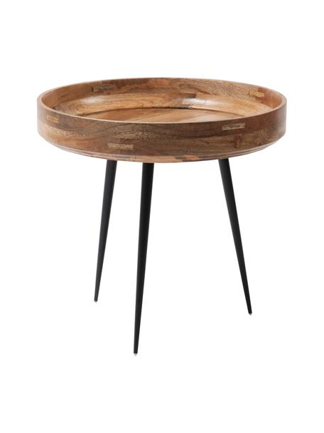 Kleiner Design-Beistelltisch Bowl Table aus Mangoholz, Tischplatte: Mangoholz, klarlackiert, Beine: Stahl, pulverbeschichtet, Mangoholz, Schwarz, Ø 40 x H 38 cm