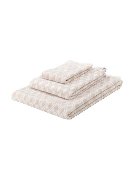 Set de toallas Ava, 3pzas., caras distintas, Color arena, blanco crema, Set de diferentes tamaños