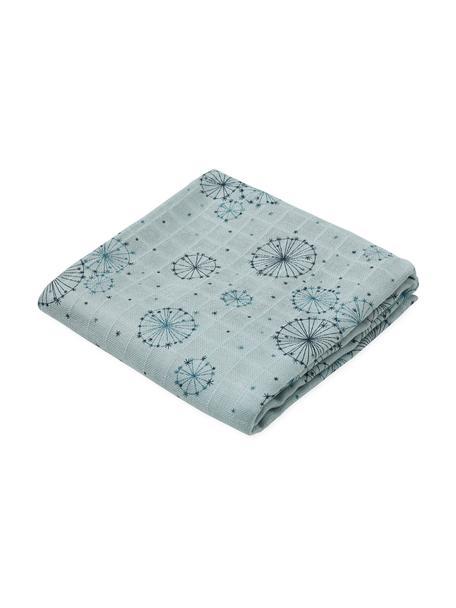 Hydrofiele doeken Dandelion, 2 stuks, Organisch katoen, Blauwtinten, 70 x 70 cm