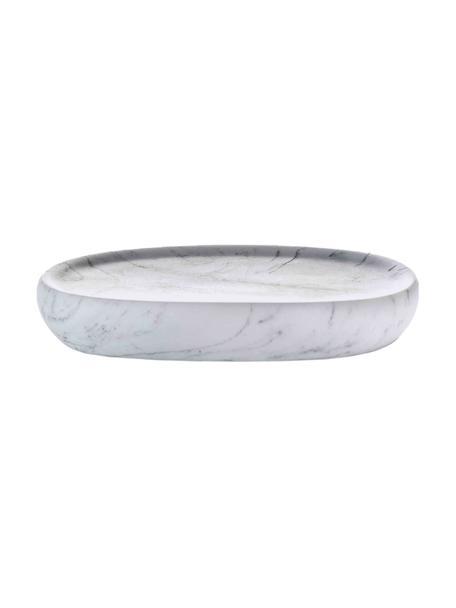 Seifenschale Marblis in Marmoroptik, Polyresin, Weiß, 13 x 2 cm