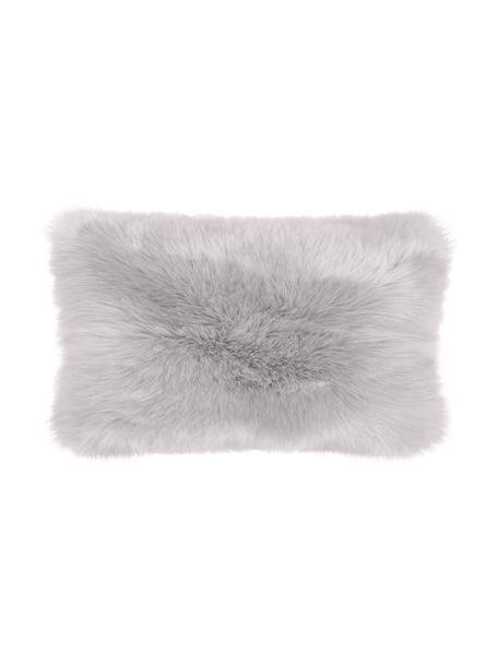 Federa arredo in soffice pelliccia sintetica Mathilde, Retro: 100% poliestere, Grigio chiaro, Larg. 30 x Lung. 50 cm