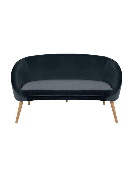 Sofa z aksamitu z drewnianymi nogami Safir (2-osobowa), Tapicerka: aksamit poliestrowy 5000, Nogi: drewno orzechowe, bejcowa, Aksamitny ciemny szary, S 136 x G 66 cm