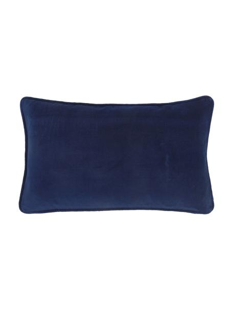 Funda de cojín de terciopelo Dana, 100%terciopelo de algodón, Azul marino, An 30 x L 50 cm