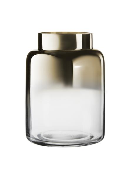 Mondgeblazen vaas Uma, Glas, Transparant, goudkleurig, Ø 15 x H 20 cm