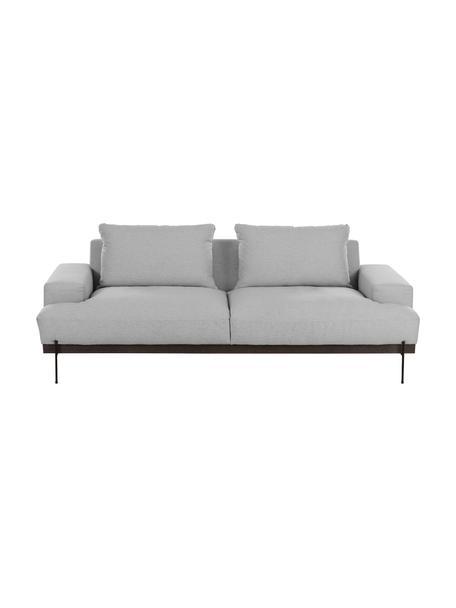 Bank Brooks (3-zits) in grijs met metalen poten, Bekleding: polyester, Frame: gelakt grenenhout, Poten: gepoedercoat metaal, Grijs, B 230 x D 98 cm