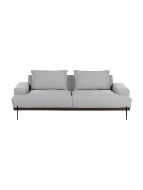 Sofa Brooks (3-Sitzer) in Grau mit Metall-Füßen, Bezug: Polyester 35.000 Scheuert, Gestell: Kiefernholz, massiv, Rahmen: Kiefernholz, lackiert, Füße: Metall, pulverbeschichtet, Webstoff Grau, 230 x 75 cm